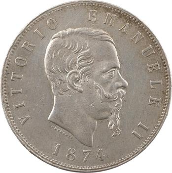 Italie (royaume d'), Victor-Emmanuel II, 5 lire, 1874 Milan