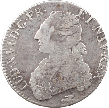 Louis XVI, écu aux rameaux d'olivier, 1775 Lyon