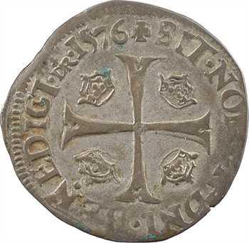 Henri III, douzain aux 2 H 1er type, 1576 Troyes
