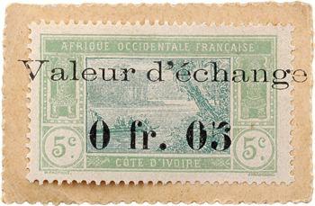 Côte d'Ivoire, monnaie-timbre de 0,05 franc, s.d. (1920)