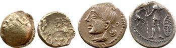 lot de 4 ex. : Rèmes, 1/4 statère, Pictons, denier, Volques et Rutènes, drachmes