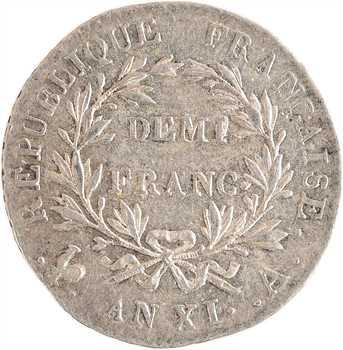 Consulat, demi-franc, An XI Paris