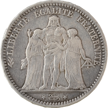 IIIe République, 5 francs Hercule transformée en médaille de mariage, 1884 Bordeaux