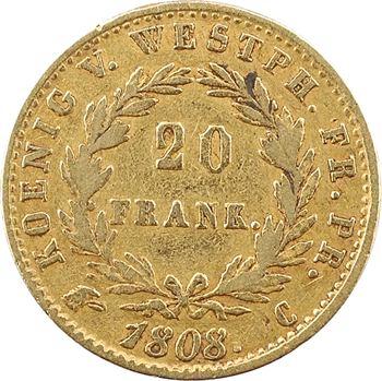 Allemagne, Westphalie (royaume de), Jérôme Napoléon, 20 franken, 1808 Cassel