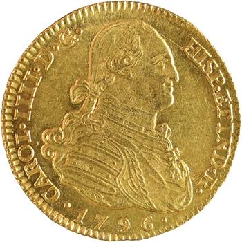 Espagne, Charles IV, 4 escudos, 1796 Madrid