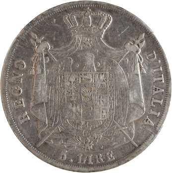 Italie, Napoléon Ier, 5 lire tranche en creux, 1809 Milan