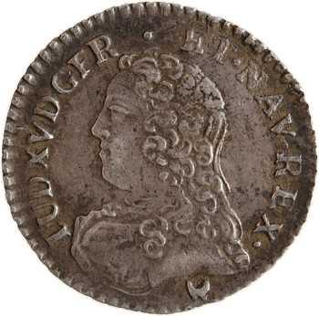 Louis XV, vingtième d'écu aux rameaux d'olivier, 1727 Montpellier