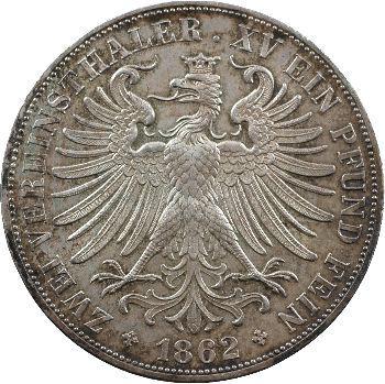Allemagne, Francfort (ville libre de), double thaler, 1862 Francfort