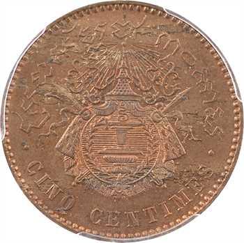 Cambodge, Norodom Ier, essai de cinq centimes, 1860 Bruxelles, PCGS SP63RB