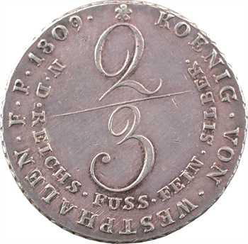 Allemagne, Westphalie (royaume de), Jérôme Napoléon, 2/3 de thaler, 1809 Clausthal