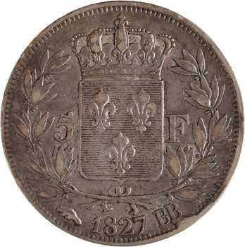 Charles X, 5 francs 2e type, 1827 Strasbourg