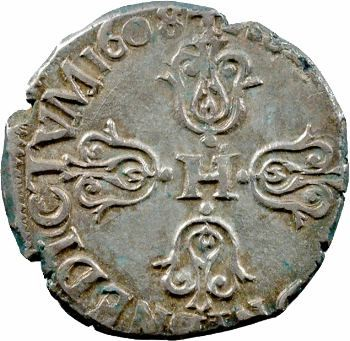 Henri IV, quart de franc, 1608 Limoges