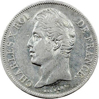 Charles X, 5 francs 2e type, 1827 Rouen