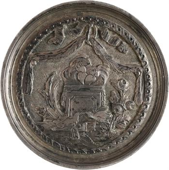Louis XVI, médaille de mariage artisanale en taille directe, 1776