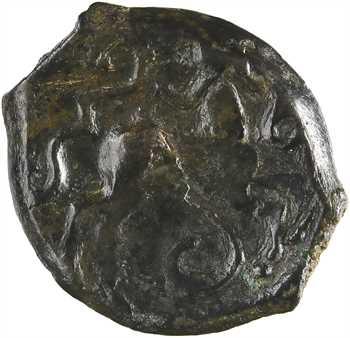 Pictons / Centre-Ouest, bronze à la tête aquitanique et à l'androcéphale casqué, c.80-60 av. J.-C