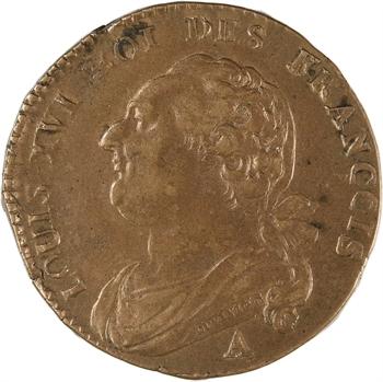 Constitution, 12 deniers FRANÇOIS, An 3, 1791 Paris variété coin bouché