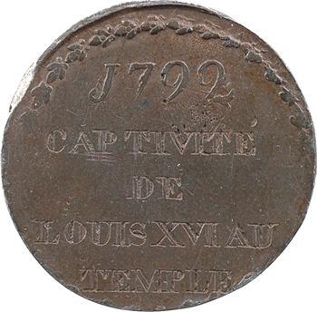Tournai, méreau, détention de Louis XVI à la prison du Temple, 1792