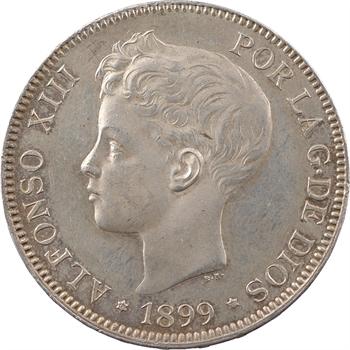 Espagne, Alphonse XIII, 5 pesetas, 1899 (18 – 99) Madrid