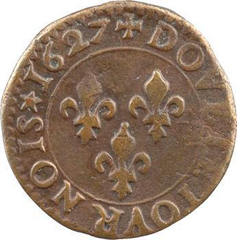 Louis XIII, double tournois 3e type, 1627 Poitiers
