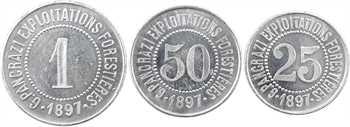 Tunisie, Ghardimaou, 25 et 50 centimes, 1 franc, exploitation forestière G. Pancrazi, 1897