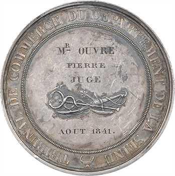 Louis-Philippe Ier, le Tribunal de Commerce de la Seine au juge Ouvré, par Barre, 1841 Paris