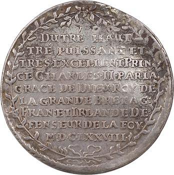 Allemagne, Saxe, médaille (pseudo-thaler) pour Charles II, ordre de la jarretière, 1678