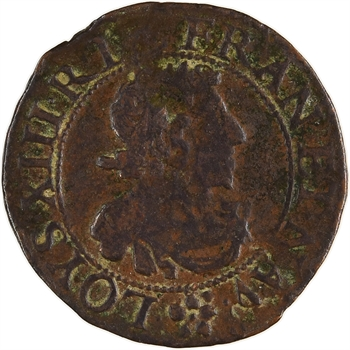 Louis XIII, double tournois, 1638 Troyes ?