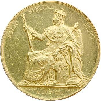 Charles X, le sacre à Reims, médaille officielle par Gayrard, 1825