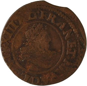 Louis XIII, double tournois 9e type, 1634 Lyon