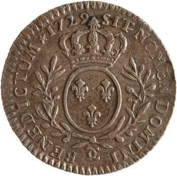 Louis XV, dixième d'écu aux rameaux d'olivier, 1729 Besançon