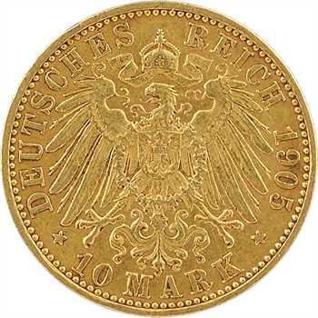 Allemagne, Prusse (royaume de), Guillaume II, 10 mark, 1905 Berlin