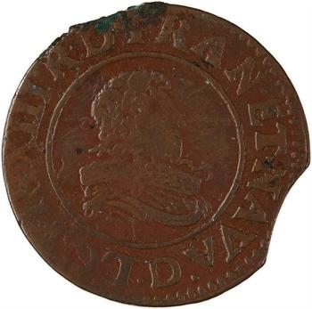 Louis XIII, double tournois 8e type, 1632 Lyon