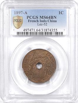 Indochine, 1 centième, 1897 Paris, PCGS MS64BN