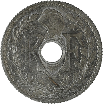 État français, pré-série de 25 centimes Lindauer en zinc, tranche cannelée 1940 Paris