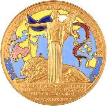 Saupique (G.) : le journal la Dépêche coloniale, bronze doré et émaillé, s.d. (c.1930) Paris