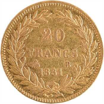 Louis-Philippe Ier, 20 francs Tiolier, tranche en creux, 1831 Rouen