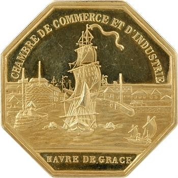 Ve République, Havre de Grâce, jeton Or de la Chambre de Commerce, par Delannoy, An XI Paris (postérieur)