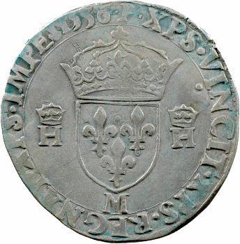 Henri II, teston à la tête nue 5e type, 1556 Toulouse