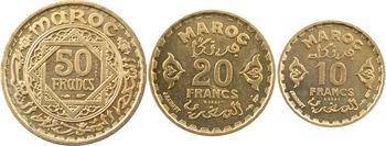 Maroc, Mohammed V, coffret de trois essais de 10, 20 et 50 francs, AH 1371 (1952) Paris
