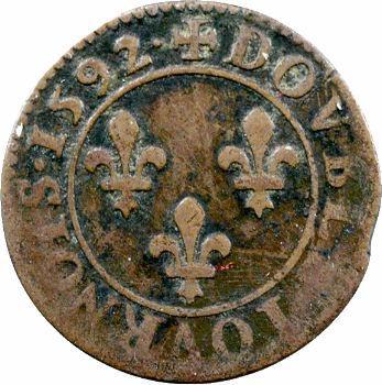 Henri IV, double tournois 2e type de Châlons-en-Champagne, 1592