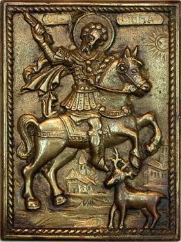 Fonte uniface, chasse, Saint Hubert (ou Saint Eustache) et sa révélation, s.d. (XIXe s.)