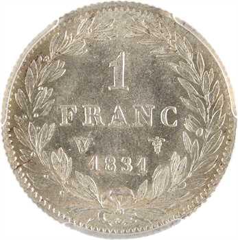 Louis-Philippe Ier, 1 franc, 1831 Lille PCGS MS62
