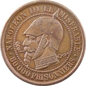 Guerre de 1870, Napoléon III le misérable, module 2 francs SEDAN, 1870