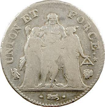 Directoire, 5 francs Union et Force, An 7 Bayonne