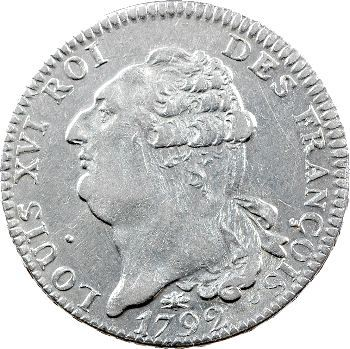 Constitution, écu de 6 livres FRANÇOIS, An 4, 2d semestre, 1792 Lyon