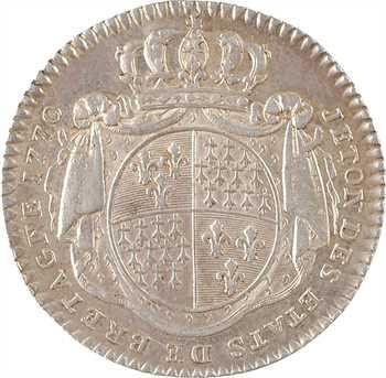 Bretagne (États de), Louis XV, jeton, 1770 Paris, contremarque faisceau de licteur