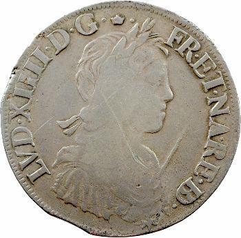 Louis XIV, écu de Béarn à la mèche longue, 1660 Morlaàs
