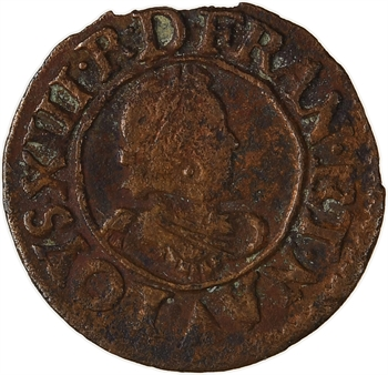Louis XIII, denier tournois 1er type, 1619 Poitiers