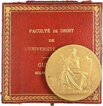 IIIe République, Prix Goullencourt de la Faculté de Droit de Paris à M. Guionin, dans sa boîte, 1908 Paris