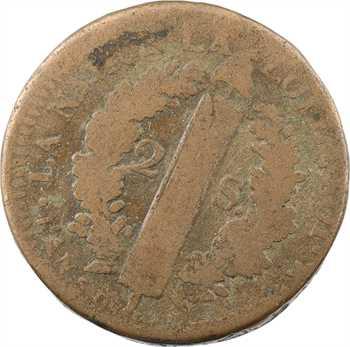 Constitution, 2 sols FRANÇAIS, An 5, 1793 Strasbourg variété coins tournés